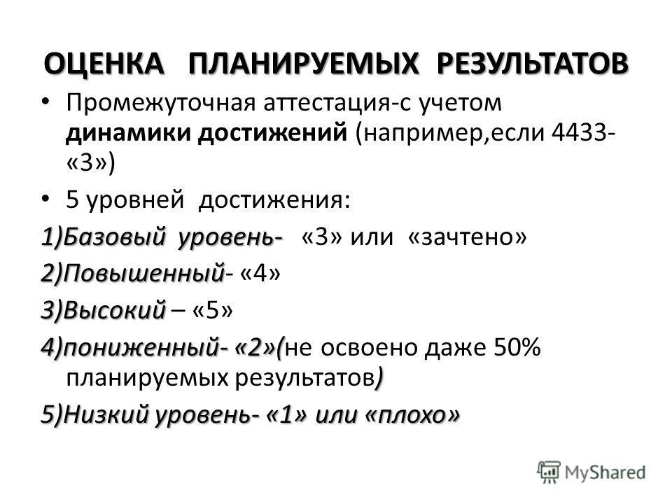 ОЦЕНКА ПЛАНИРУЕМЫХ РЕЗУЛЬТАТОВ Промежуточная аттестация-с учетом динамики достижений (например,если 4433- «3») 5 уровней достижения: 1)Базовый уровень- 1)Базовый уровень- «3» или «зачтено» 2)Повышенный 2)Повышенный- «4» 3)Высокий 3)Высокий – «5» 4)по