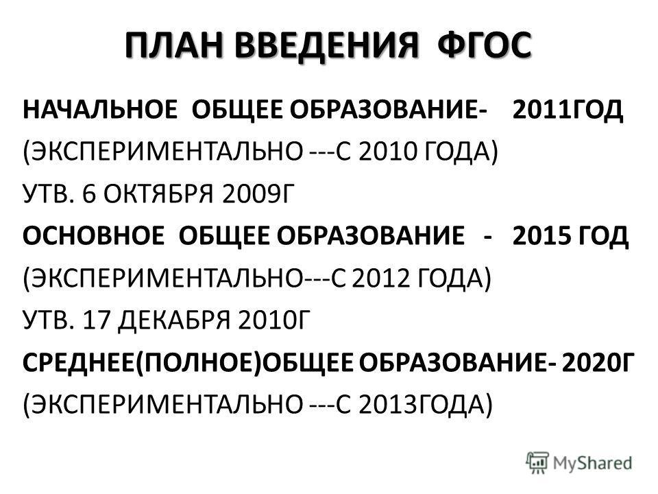 ПЛАН ВВЕДЕНИЯ ФГОС НАЧАЛЬНОЕ ОБЩЕЕ ОБРАЗОВАНИЕ- 2011ГОД (ЭКСПЕРИМЕНТАЛЬНО ---С 2010 ГОДА) УТВ. 6 ОКТЯБРЯ 2009Г ОСНОВНОЕ ОБЩЕЕ ОБРАЗОВАНИЕ - 2015 ГОД (ЭКСПЕРИМЕНТАЛЬНО---С 2012 ГОДА) УТВ. 17 ДЕКАБРЯ 2010Г СРЕДНЕЕ(ПОЛНОЕ)ОБЩЕЕ ОБРАЗОВАНИЕ- 2020Г (ЭКСПЕ