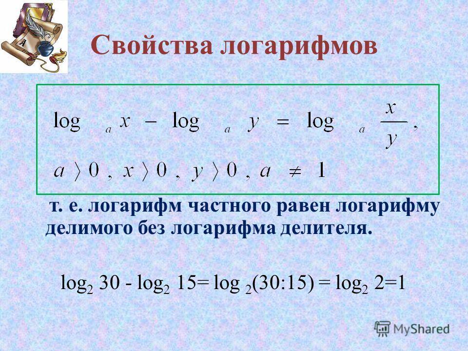Свойства логарифмов т. е. логарифм частного равен логарифму делимого без логарифма делителя. log 2 30 - log 2 15= log 2 (30:15) = log 2 2=1