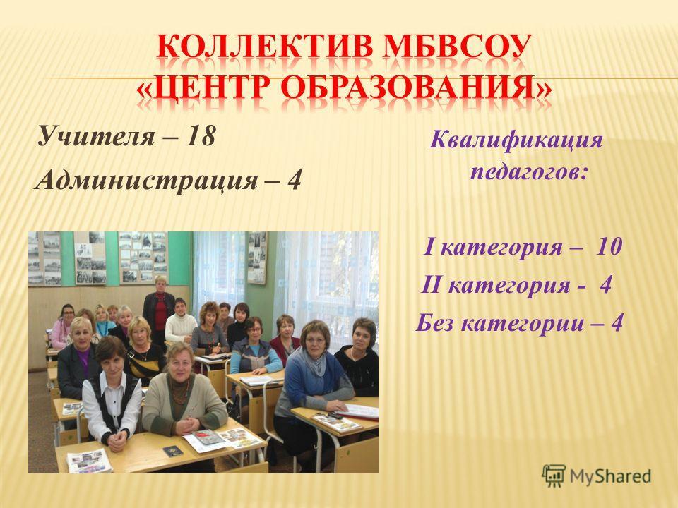 Учителя – 18 Администрация – 4 Квалификация педагогов: I категория – 10 II категория - 4 Без категории – 4