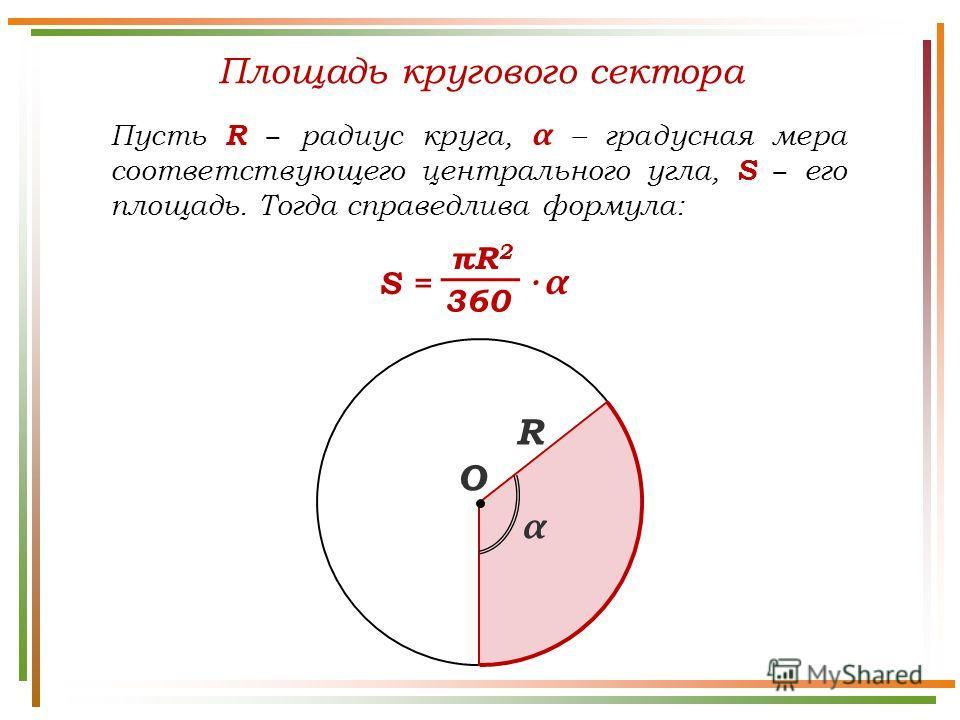 Площадь кругового сектора Пусть R радиус круга, α – градусная мера соответствующего центрального угла, S его площадь. Тогда справедлива формула: R πR2πR2 360 S = · α α О