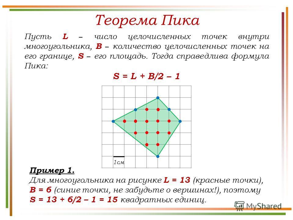 Теорема Пика Пусть L число целочисленных точек внутри многоугольника, B количество целочисленных точек на его границе, S его площадь. Тогда справедлива формула Пика: S = L + B/2 – 1 Пример 1. Для многоугольника на рисунке L = 13 (красные точки), B =