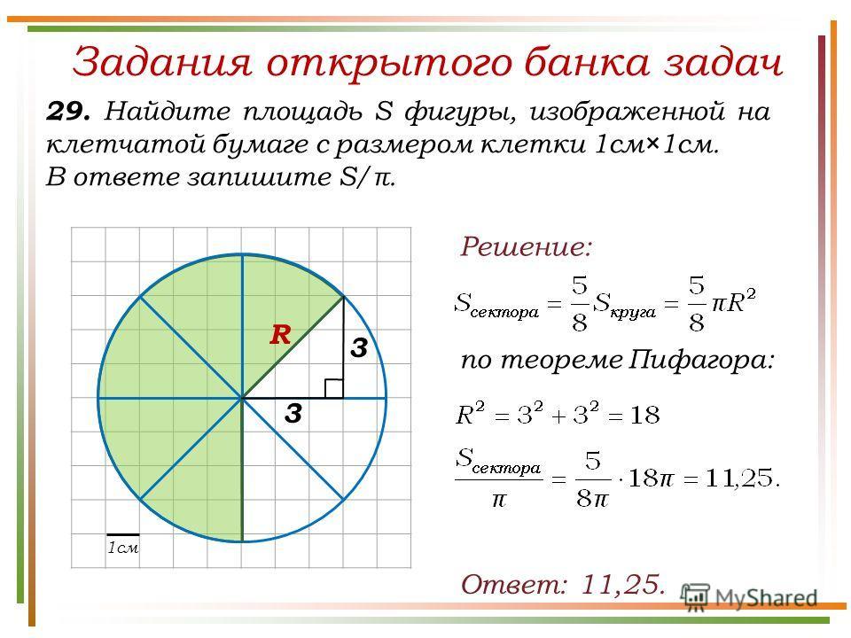 Задания открытого банка задач 29. Найдите площадь S фигуры, изображенной на клетчатой бумаге с размером клетки 1см×1см. В ответе запишите S/π. Ответ: 11,25. Решение: 3 3 R по теореме Пифагора: 1см