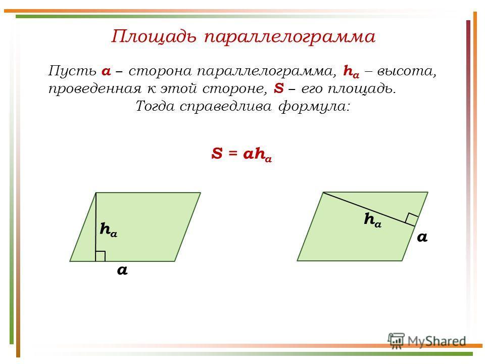 Площадь параллелограмма Пусть а сторона параллелограмма, h а – высота, проведенная к этой стороне, S его площадь. Тогда справедлива формула: S = ah a a haha haha a