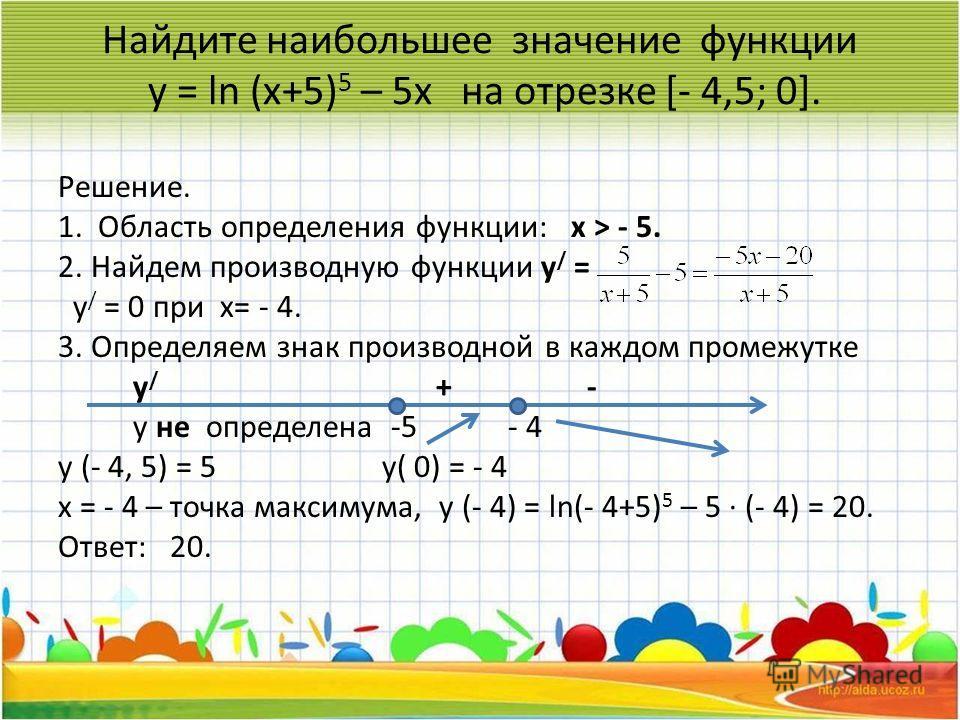 Найдите наибольшее значение функции у = ln (x+5) 5 – 5x на отрезке [- 4,5; 0]. Решение. 1. Область определения функции: х > - 5. 2. Найдем производную функции у / = у / = 0 при х= - 4. 3. Определяем знак производной в каждом промежутке у / + - у не о