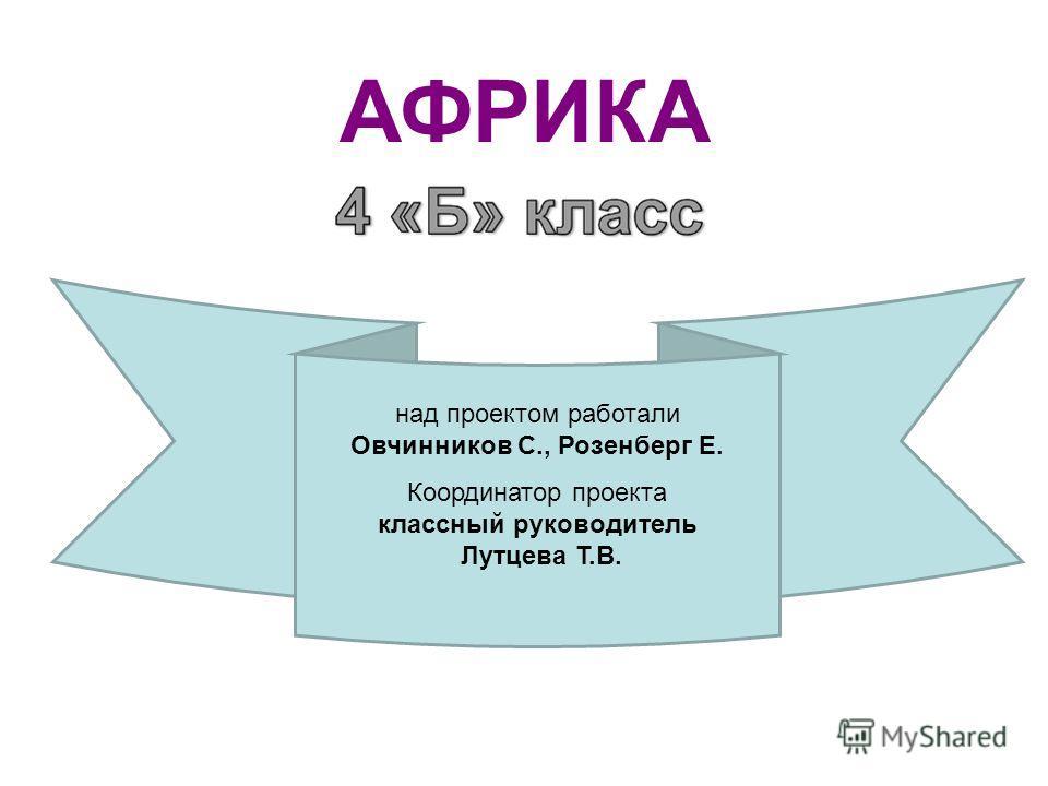 АФРИКА над проектом работали Овчинников С., Розенберг Е. Координатор проекта классный руководитель Лутцева Т.В.