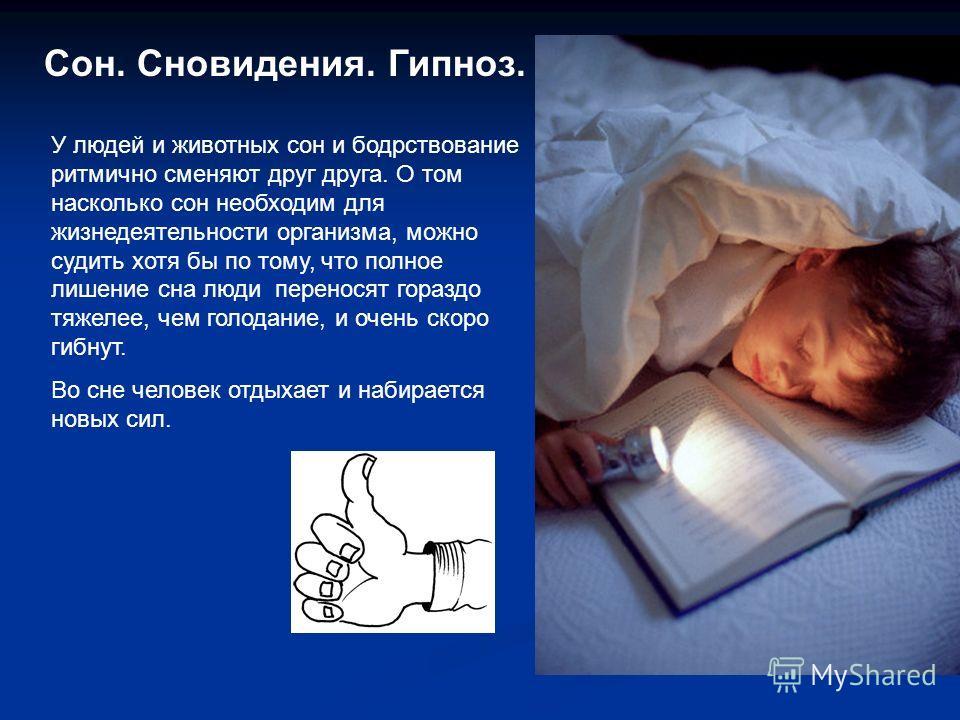 Сон. Сновидения. Гипноз. У людей и животных сон и бодрствование ритмично сменяют друг друга. О том насколько сон необходим для жизнедеятельности организма, можно судить хотя бы по тому, что полное лишение сна люди переносят гораздо тяжелее, чем голод