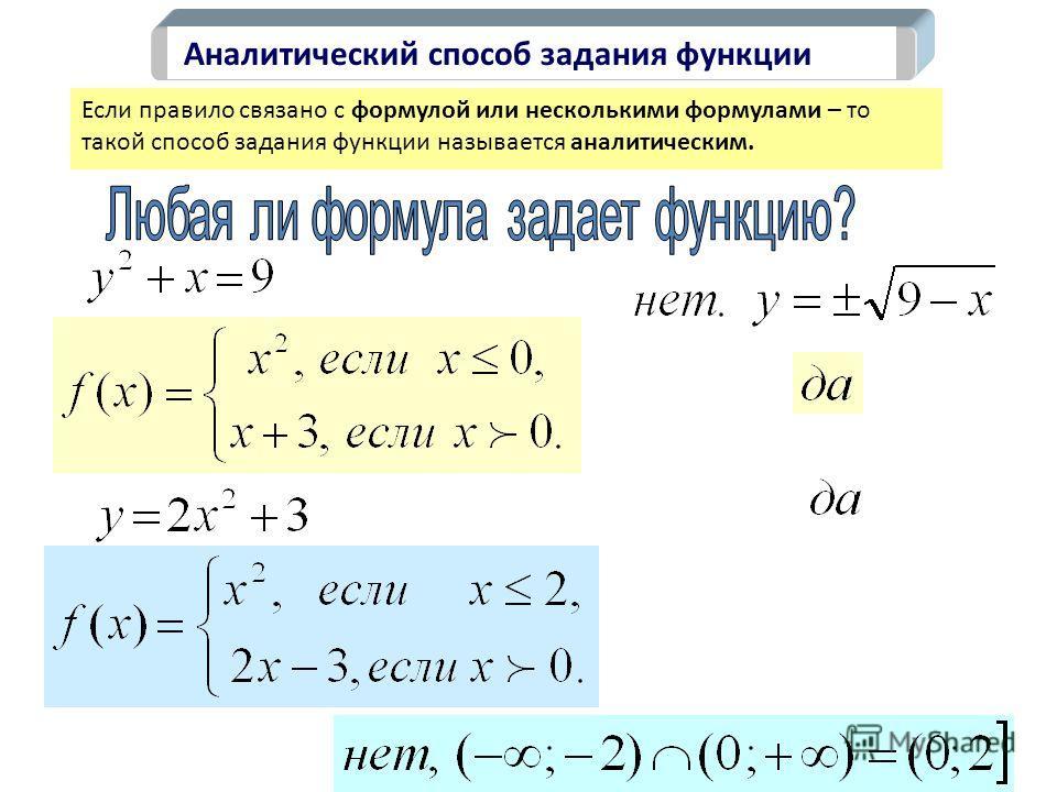 Аналитический способ задания функции Если правило связано с формулой или несколькими формулами – то такой способ задания функции называется аналитическим.
