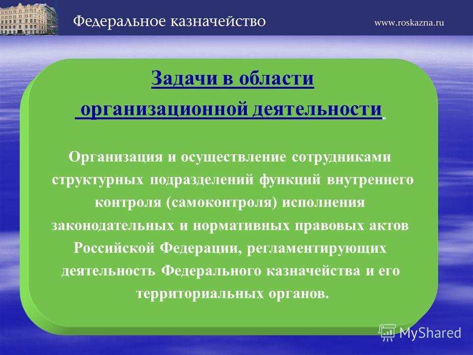 Задачи в области организационной деятельности Организация и осуществление сотрудниками структурных подразделений функций внутреннего контроля (самоконтроля) исполнения законодательных и нормативных правовых актов Российской Федерации, регламентирующи
