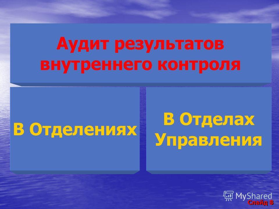 Слайд 8 Аудит результатов внутреннего контроля В Отделениях В Отделах Управления