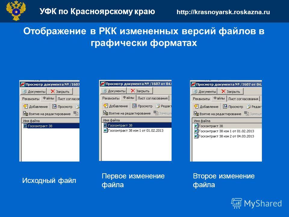 УФК по Красноярскому краю http://krasnoyarsk.roskazna.ru Отображение в РКК измененных версий файлов в графически форматах Первое изменение файла Второе изменение файла Исходный файл