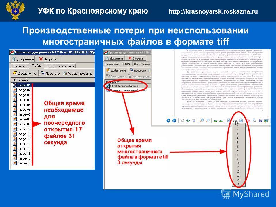 УФК по Красноярскому краю http://krasnoyarsk.roskazna.ru Производственные потери при неиспользовании многостраничных файлов в формате tiff