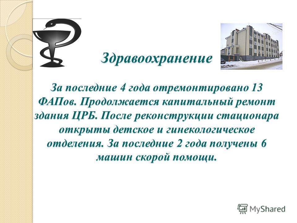 Здравоохранение За последние 4 года отремонтировано 13 ФАПов. Продолжается капитальный ремонт здания ЦРБ. После реконструкции стационара открыты детское и гинекологическое отделения. За последние 2 года получены 6 машин скорой помощи.