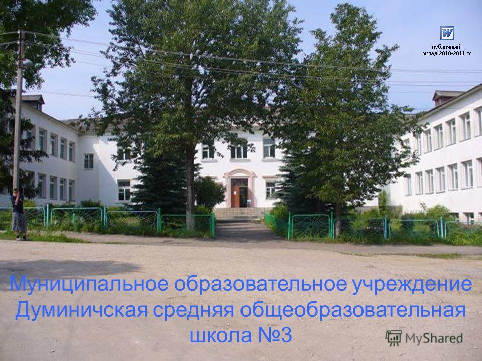 Муниципальное образовательное учреждение Думиничская средняя общеобразовательная школа 3