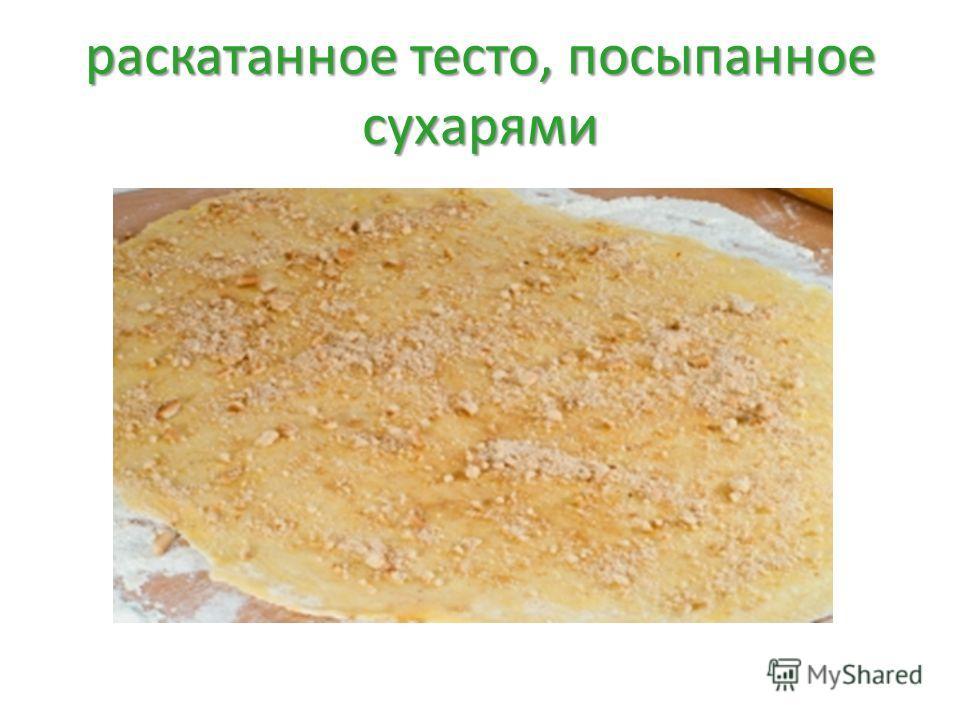 раскатанное тесто, посыпанное сухарями
