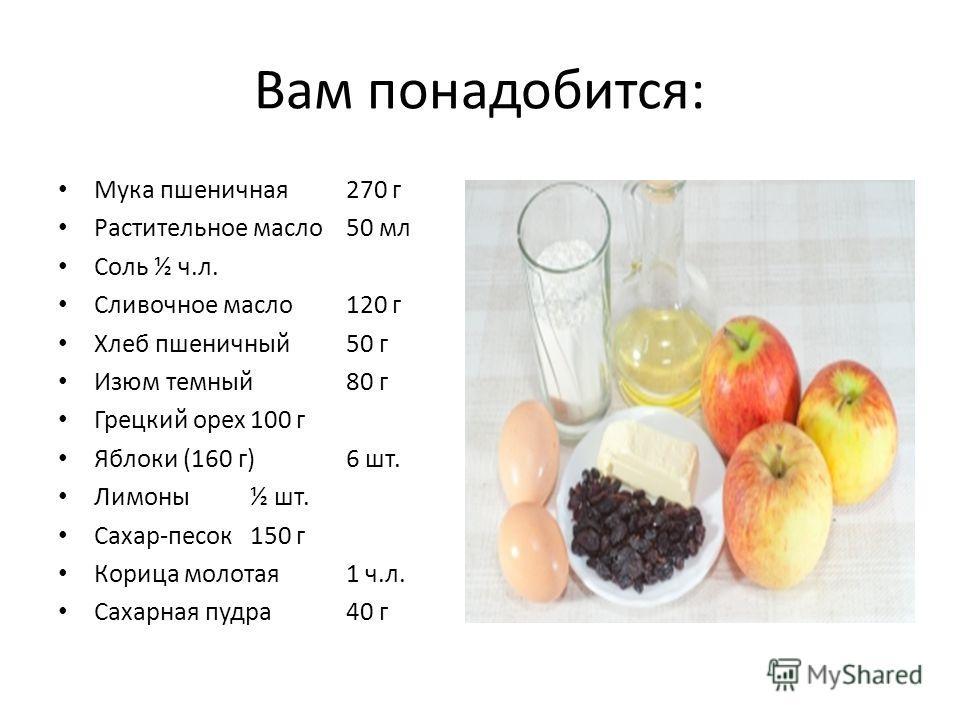 Вам понадобится: Мука пшеничная270 г Растительное масло50 мл Соль½ ч.л. Сливочное масло120 г Хлеб пшеничный50 г Изюм темный80 г Грецкий орех100 г Яблоки (160 г)6 шт. Лимоны½ шт. Сахар-песок150 г Корица молотая1 ч.л. Сахарная пудра40 г