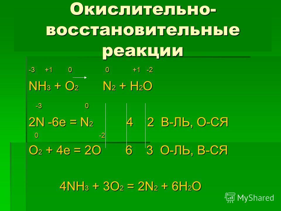 Окислительно- восстановительные реакции -3 +1 0 0 +1 -2 NH 3 + O 2 N 2 + H 2 O -3 0 -3 0 2N -6e = N 2 4 2 В-ЛЬ, О-СЯ 0 -2 0 -2 O 2 + 4e = 2O 6 3 О-ЛЬ, В-СЯ 4NH 3 + 3O 2 = 2N 2 + 6H 2 O 4NH 3 + 3O 2 = 2N 2 + 6H 2 O