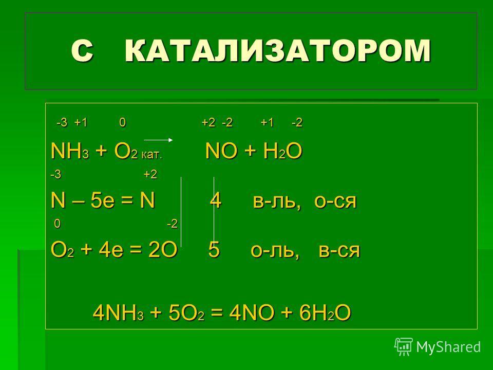 С КАТАЛИЗАТОРОМ -3 +1 0 +2 -2 +1 -2 -3 +1 0 +2 -2 +1 -2 NH 3 + O 2 кат. NO + H 2 O -3 +2 N – 5e = N 4 в-ль, о-ся 0 -2 0 -2 O 2 + 4e = 2O 5 о-ль, в-ся 4NH 3 + 5O 2 = 4NO + 6H 2 O 4NH 3 + 5O 2 = 4NO + 6H 2 O