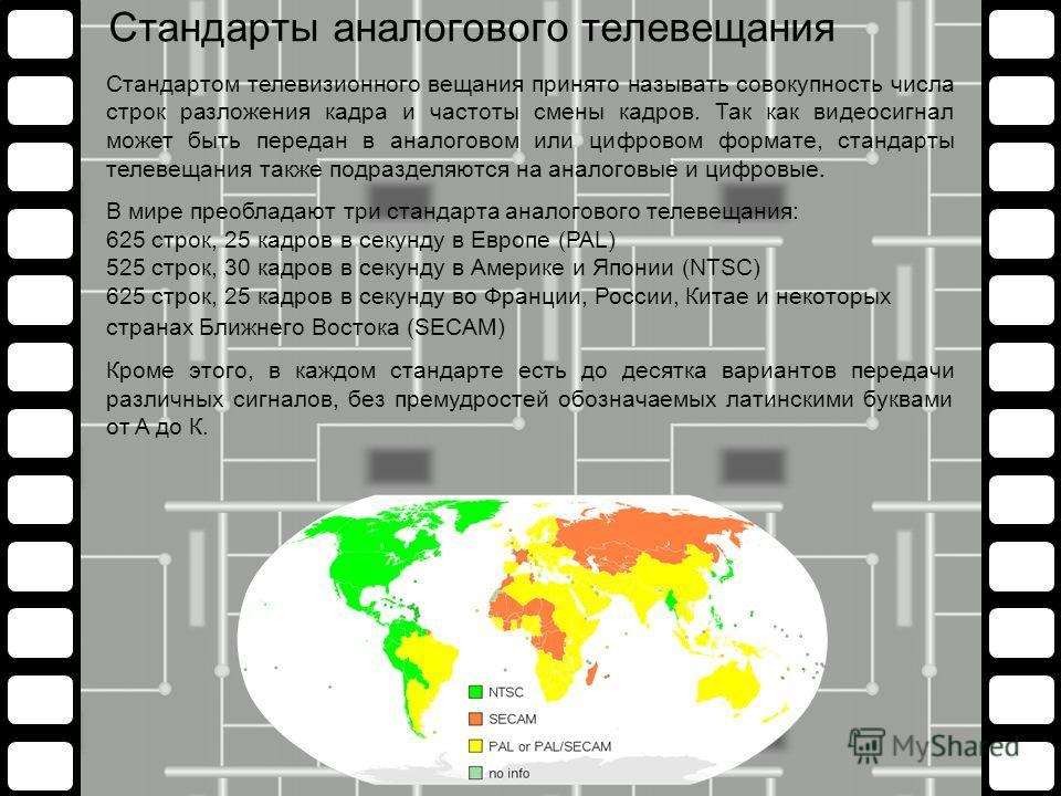 Стандарты аналогового телевещания Стандартом телевизионного вещания принято называть совокупность числа строк разложения кадра и частоты смены кадров. Так как видеосигнал может быть передан в аналоговом или цифровом формате, стандарты телевещания так