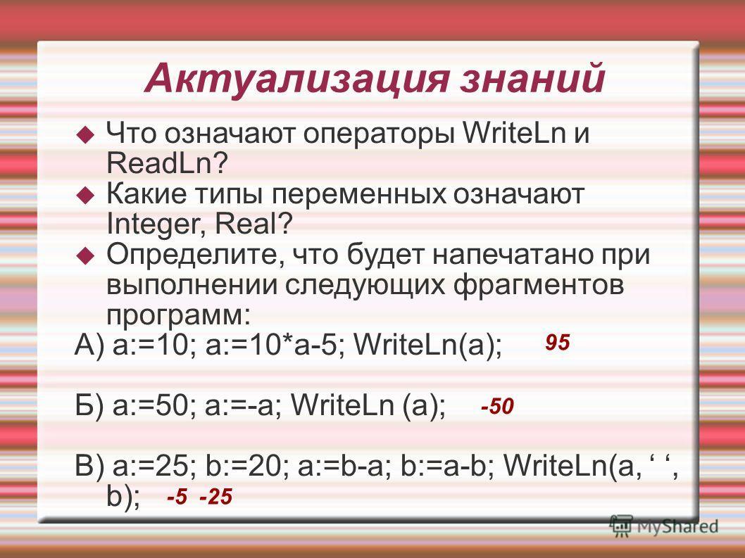 Актуализация знаний Что означают операторы WriteLn и ReadLn? Какие типы переменных означают Integer, Real? Определите, что будет напечатано при выполнении следующих фрагментов программ: А) a:=10; a:=10*a-5; WriteLn(a); Б) a:=50; a:=-a; WriteLn (a); В