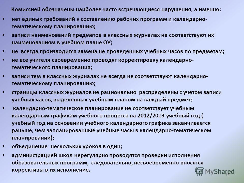 18 Комиссией обозначены наиболее часто встречающиеся нарушения, а именно: нет единых требований к составлению рабочих программ и календарно- тематическому планированию; записи наименований предметов в классных журналах не соответствуют их наименовани