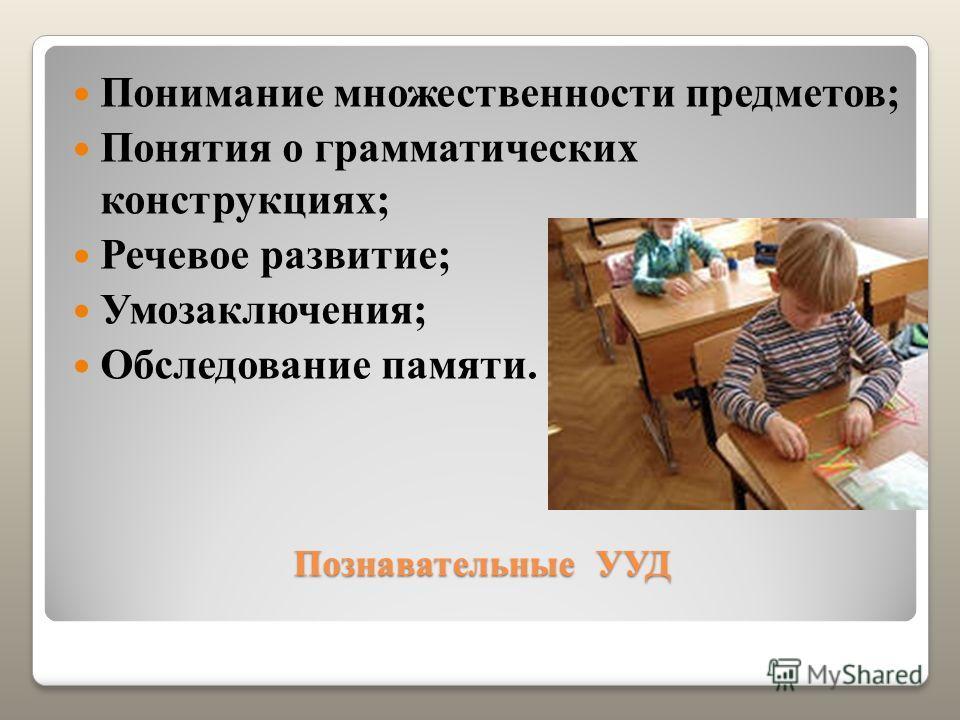 Познавательные УУД Понимание множественности предметов; Понятия о грамматических конструкциях; Речевое развитие; Умозаключения; Обследование памяти.