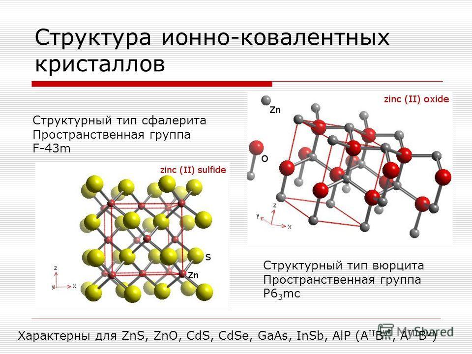 Структура ионно-ковалентных кристаллов Cтруктурный тип сфалерита Пространственная группа F-43m Cтруктурный тип вюрцита Пространственная группа P6 3 mc Характерны для ZnS, ZnO, CdS, CdSe, GaAs, InSb, AlP (A II B VI, A III B V )