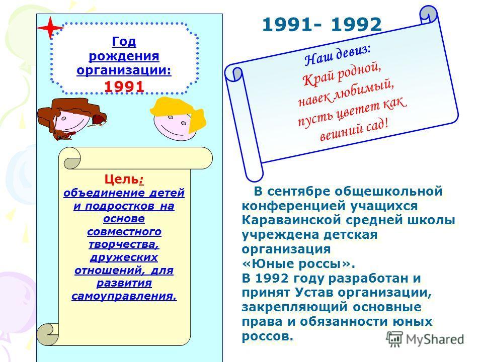 Юбилей детской организации Караваинской СОШ «Юные россы»