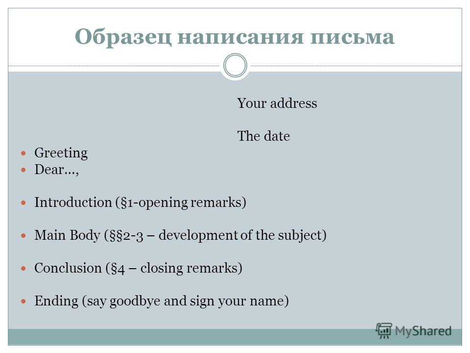 Образец написания письма Your address The date Greeting Dear…, Introduction (§1-opening remarks) Main Body (§§2-3 – development of the subject) Conclusion (§4 – closing remarks) Ending (say goodbye and sign your name)