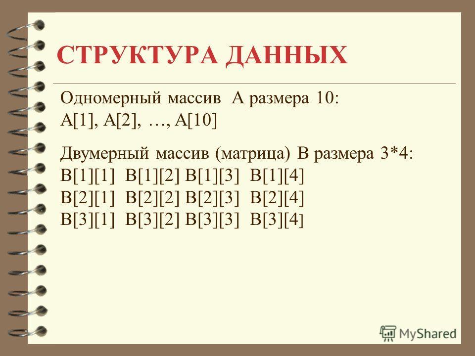 СТРУКТУРА ДАННЫХ Одномерный массив А размера 10: A[1], A[2], …, A[10] Двумерный массив (матрица) B размера 3*4: B[1][1] B[1][2] B[1][3] B[1][4] B[2][1] B[2][2] B[2][3] B[2][4] B[3][1] B[3][2] B[3][3] B[3][4 ]