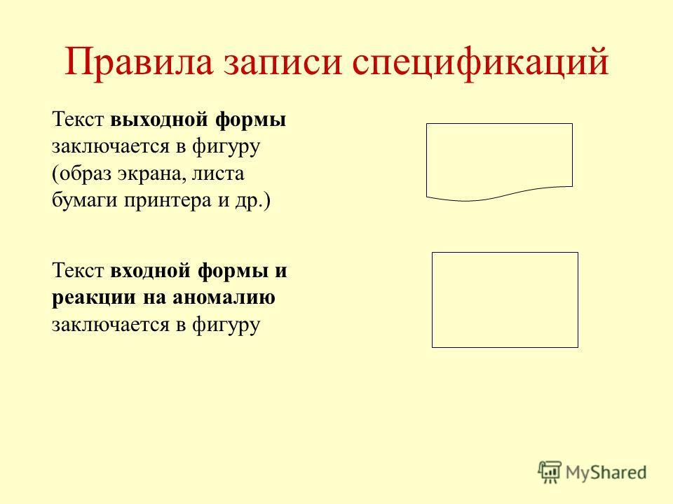 Правила записи спецификаций Текст выходной формы заключается в фигуру (образ экрана, листа бумаги принтера и др.) Текст входной формы и реакции на аномалию заключается в фигуру