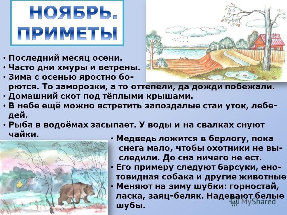 Последний месяц осени. Часто дни хмуры и ветрены. Зима с осенью яростно бо- рются. То заморозки, а то оттепели, да дожди побежали. Домашний скот под тёплыми крышами. В небе ещё можно встретить запоздалые стаи уток, лебе- дей. Рыба в водоёмах засыпает