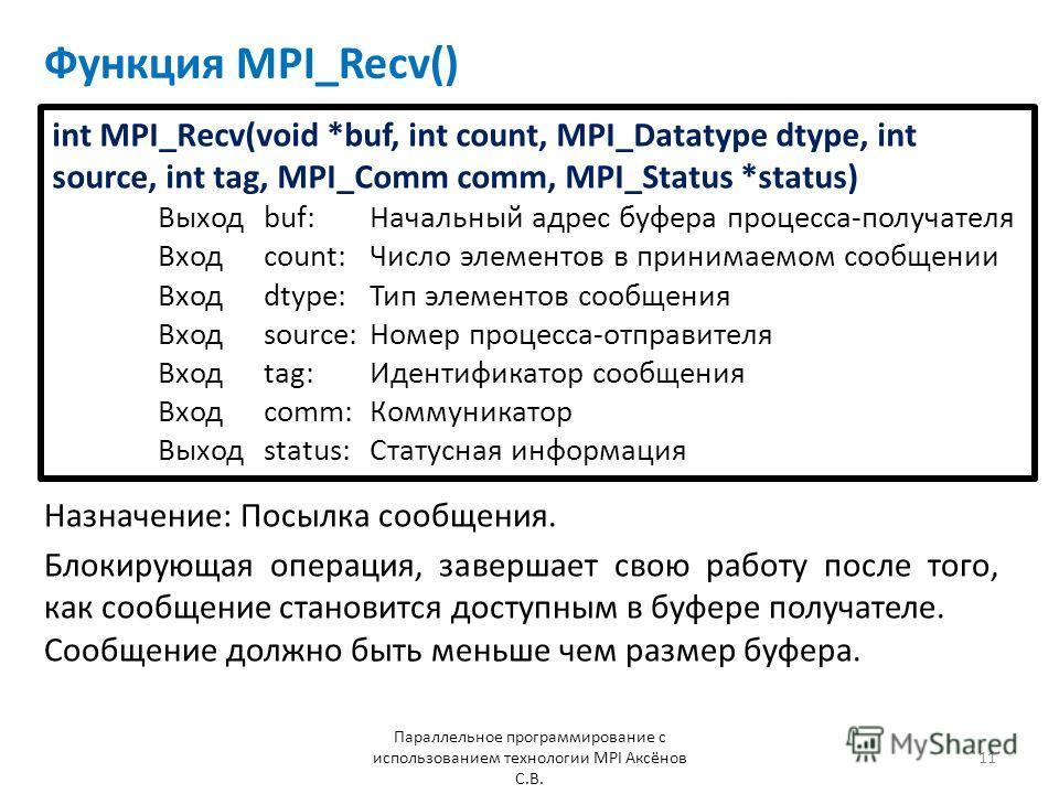 Функция MPI_Recv() Назначение: Посылка сообщения. Параллельное программирование с использованием технологии MPI Аксёнов С.В. 11 Блокирующая операция, завершает свою работу после того, как сообщение становится доступным в буфере получателе. Сообщение