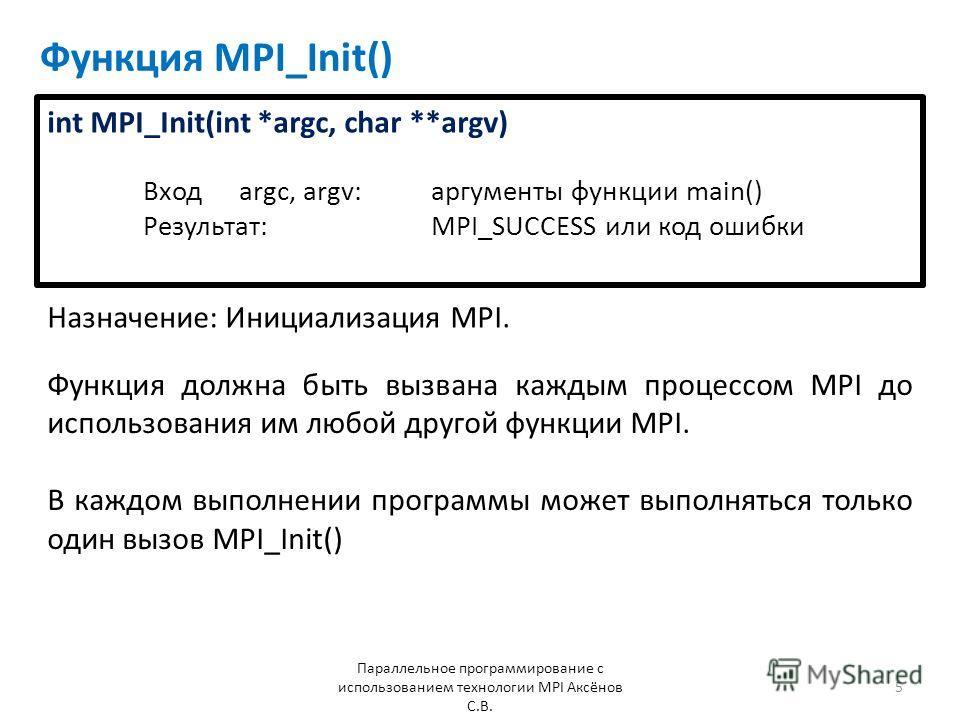 Функция MPI_Init() Назначение: Инициализация MPI. Параллельное программирование с использованием технологии MPI Аксёнов С.В. 5 Функция должна быть вызвана каждым процессом MPI до использования им любой другой функции MPI. В каждом выполнении программ