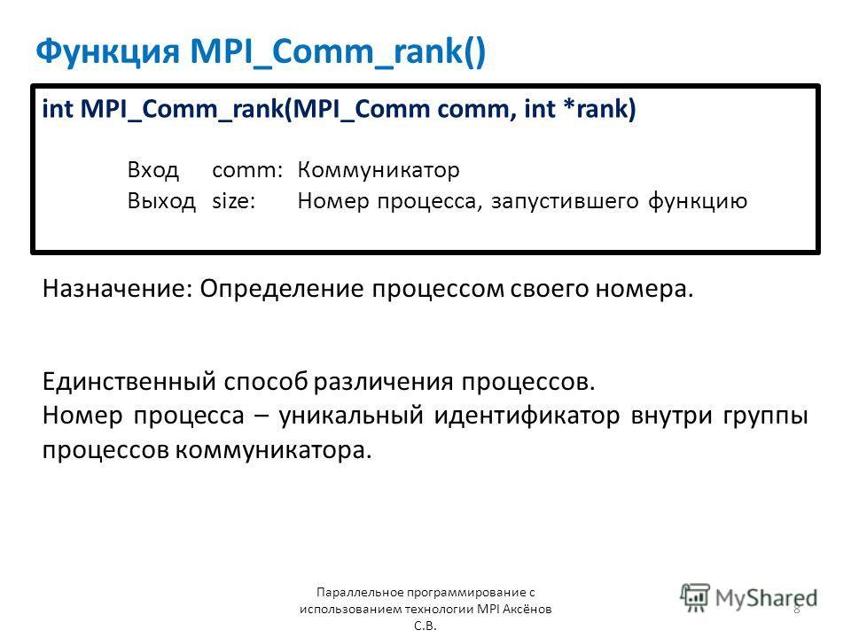 Функция MPI_Comm_rank() Назначение: Определение процессом своего номера. Параллельное программирование с использованием технологии MPI Аксёнов С.В. 8 Единственный способ различения процессов. Номер процесса – уникальный идентификатор внутри группы пр