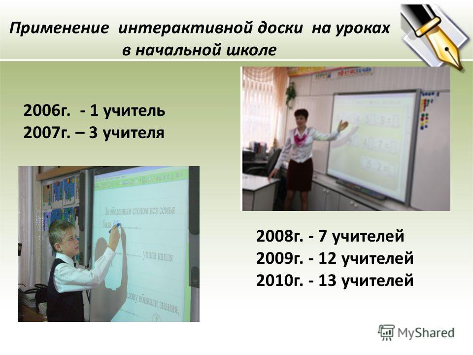 Применение интерактивной доски на уроках в начальной школе 2008г. - 7 учителей 2009г. - 12 учителей 2010г. - 13 учителей 2006г. - 1 учитель 2007г. – 3 учителя