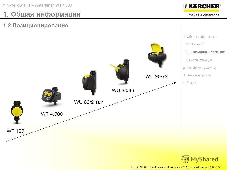 HCG / 30.04.10 / Mini YellowFile_News 2011_Watertimer WT 4.000 5 Mini-Yellow File – Watertimer WT 4.000 1. Общая информация 1.2 Позиционирование WT 120 WU 60/2 sun WU 60/49 WU 90/72 WT 4.000 1. Общая информация 1.1 Почему? 1.2 Позиционирование 1.3 Сп