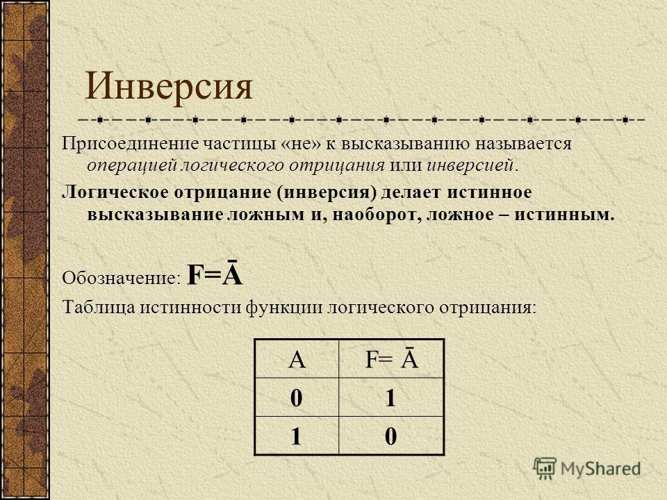 Инверсия Присоединение частицы «не» к высказыванию называется операцией логического отрицания или инверсией. Логическое отрицание (инверсия) делает истинное высказывание ложным и, наоборот, ложное – истинным. Обозначение: F=Ā Таблица истинности функц