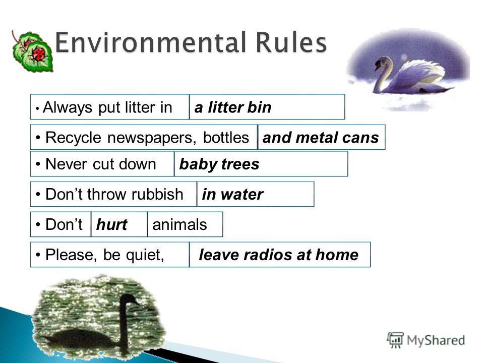 Always put litter in Recycle newspapers, bottles Never cut down Dont throw rubbish Dont Please, be quiet, a litter bin and metal cans baby trees in water leave radios at home hurtanimals