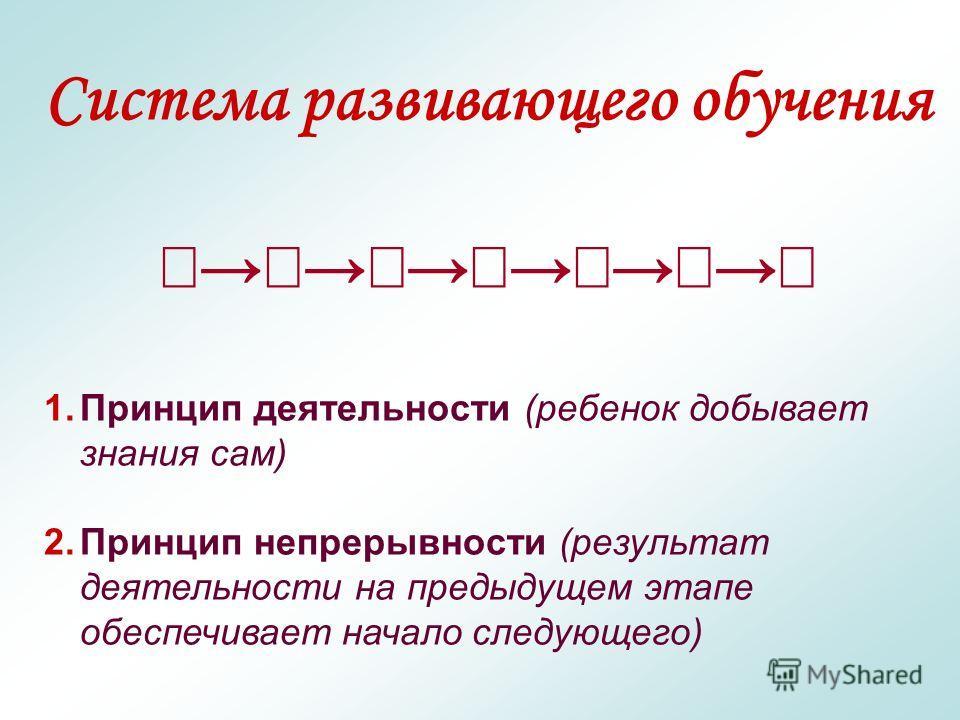 Система развивающего обучения 1.Принцип деятельности (ребенок добывает знания сам) 2.Принцип непрерывности (результат деятельности на предыдущем этапе обеспечивает начало следующего)