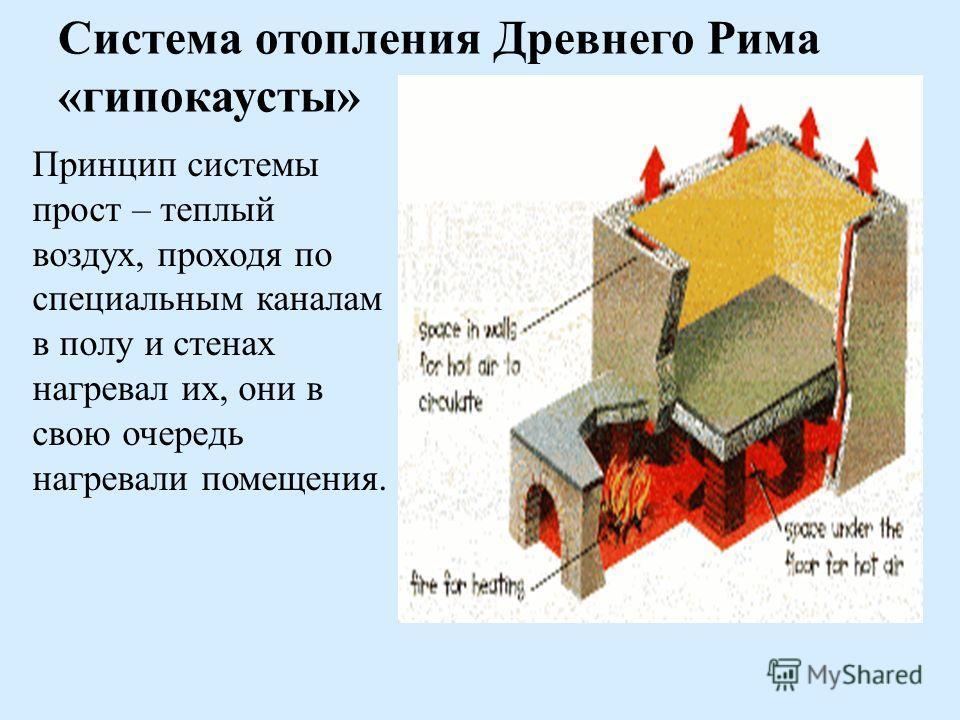 Система отопления Древнего Рима «гипокаусты» Принцип системы прост – теплый воздух, проходя по специальным каналам в полу и стенах нагревал их, они в свою очередь нагревали помещения.