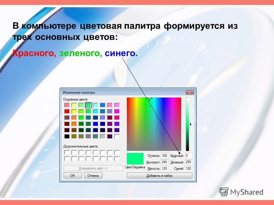 В компьютере цветовая палитра формируется из трех основных цветов: Красного, зеленого, синего.