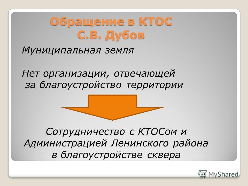 Обращение в КТОС С.В. Дубов Муниципальная земля Нет организации, отвечающей за благоустройство территории Сотрудничество с КТОСом и Администрацией Ленинского района в благоустройстве сквера