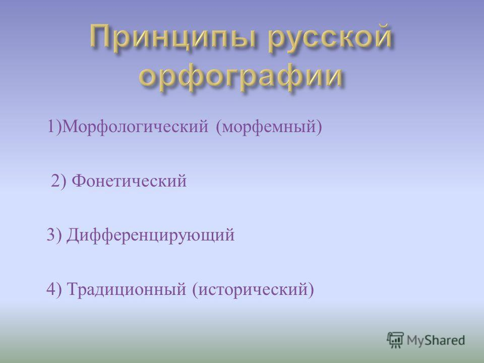 1) Морфологический ( морфемный ) 2) Фонетический 3) Дифференцирующий 4) Традиционный ( исторический )
