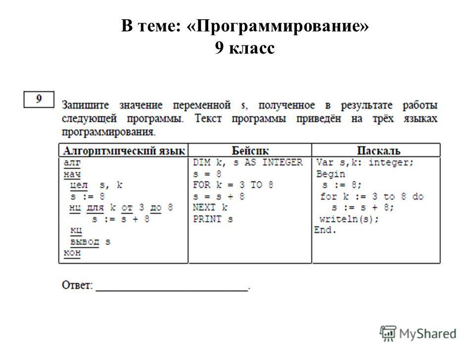 В теме: «Программирование» 9 класс