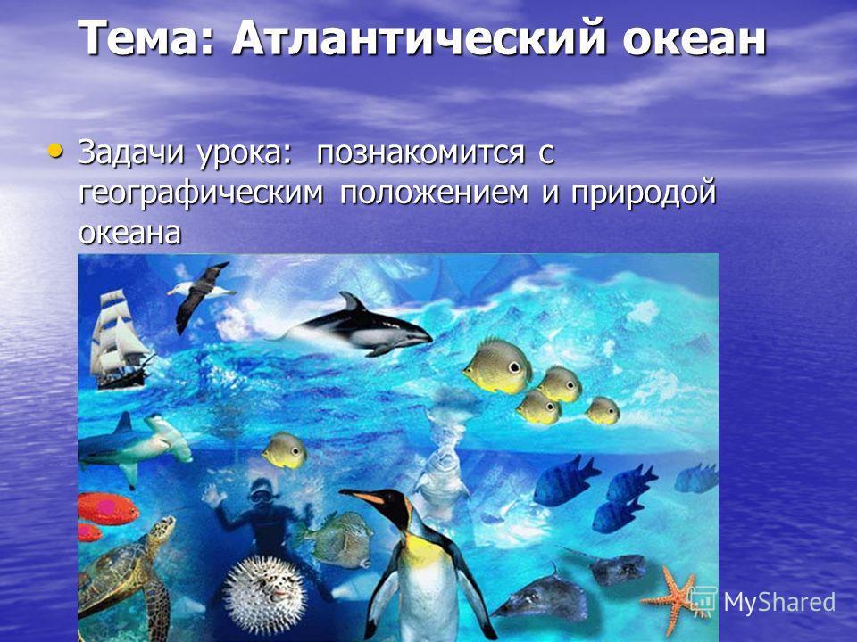 Тема: Атлантический океан Задачи урока: познакомится с географическим положением и природой океана Задачи урока: познакомится с географическим положением и природой океана