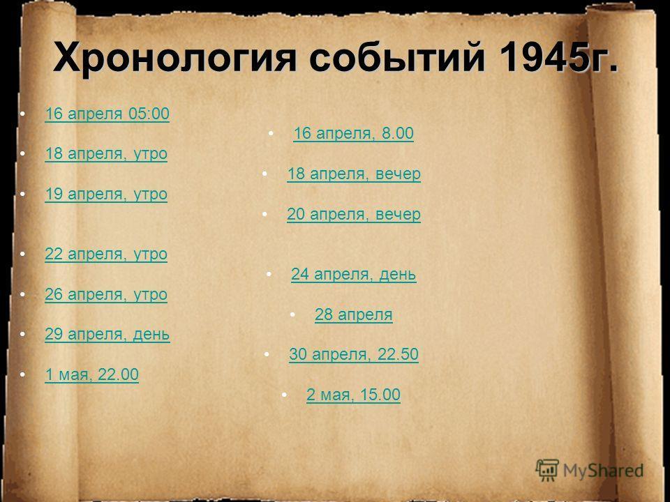 Хронология событий 1945г. 16 апреля 05:00 16 апреля, 8.00 18 апреля, утро 18 апреля, вечер 19 апреля, утро 20 апреля, вечер 22 апреля, утро 24 апреля, день 26 апреля, утро 28 апреля 29 апреля, день 30 апреля, 22.50 1 мая, 22.00 2 мая, 15.00