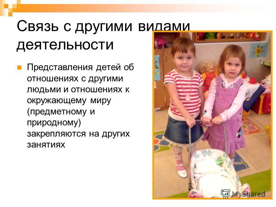 Связь с другими видами деятельности Представления детей об отношениях с другими людьми и отношениях к окружающему миру (предметному и природному) закрепляются на других занятиях
