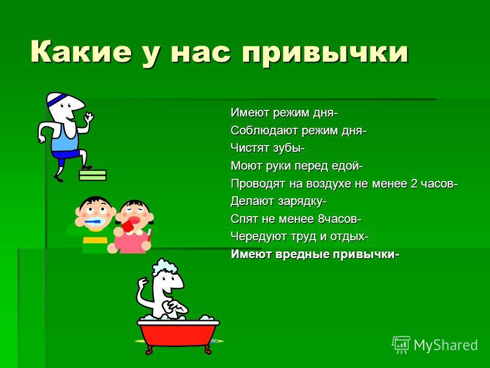Какие у нас привычки Имеют режим дня- Соблюдают режим дня- Чистят зубы- Моют руки перед едой- Проводят на воздухе не менее 2 часов- Делают зарядку- Спят не менее 8часов- Чередуют труд и отдых- Имеют вредные привычки-