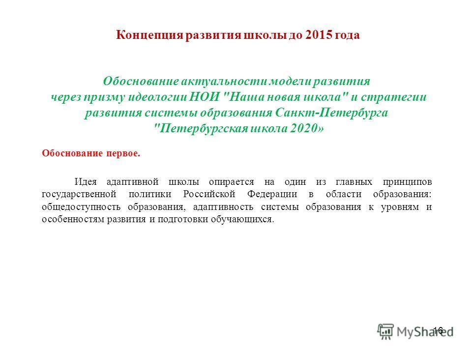 Концепция развития школы до 2015 года 16 Обоснование актуальности модели развития через призму идеологии НОИ